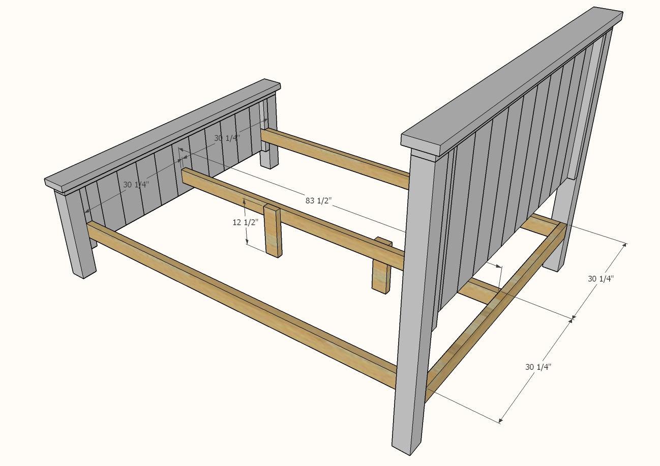 diagram showing center legs on bed frame