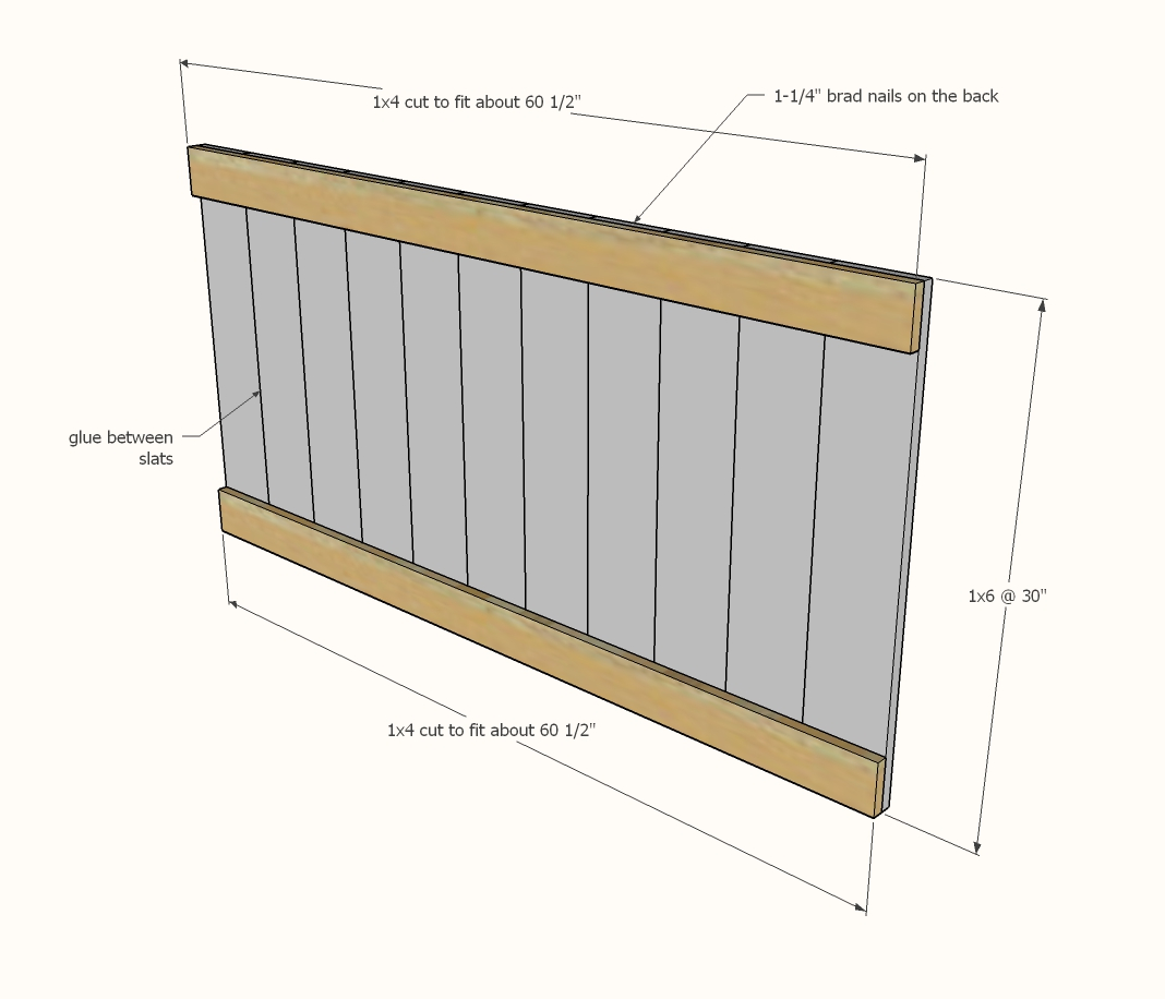diagram showing the headboard panel pieces