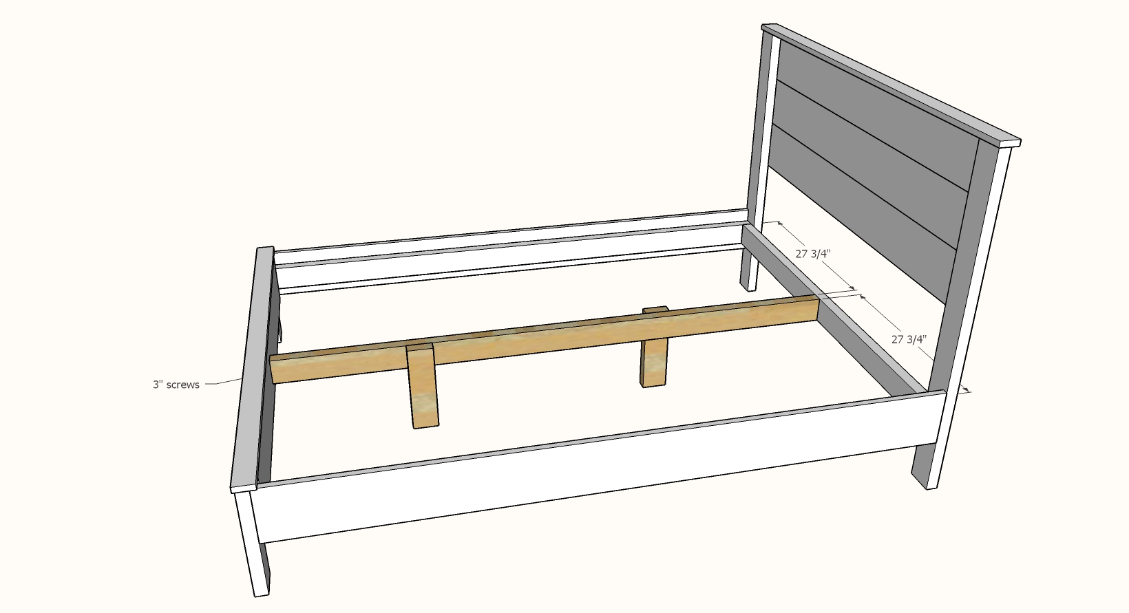 bed frame center support attached to headboard and footboard