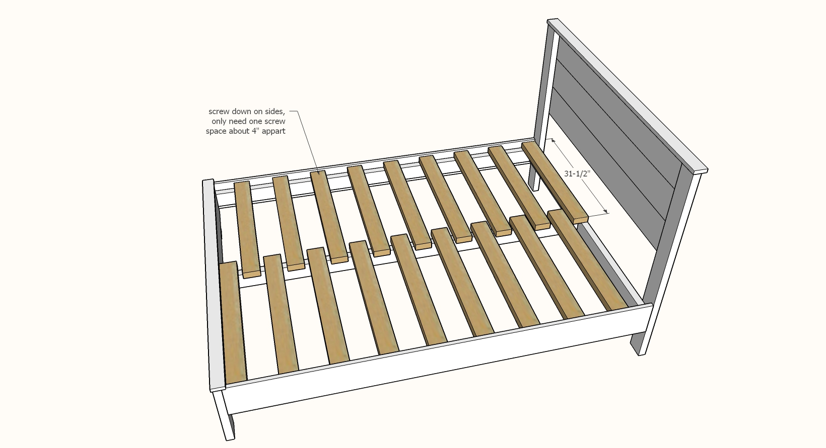 bed slats in bed frame