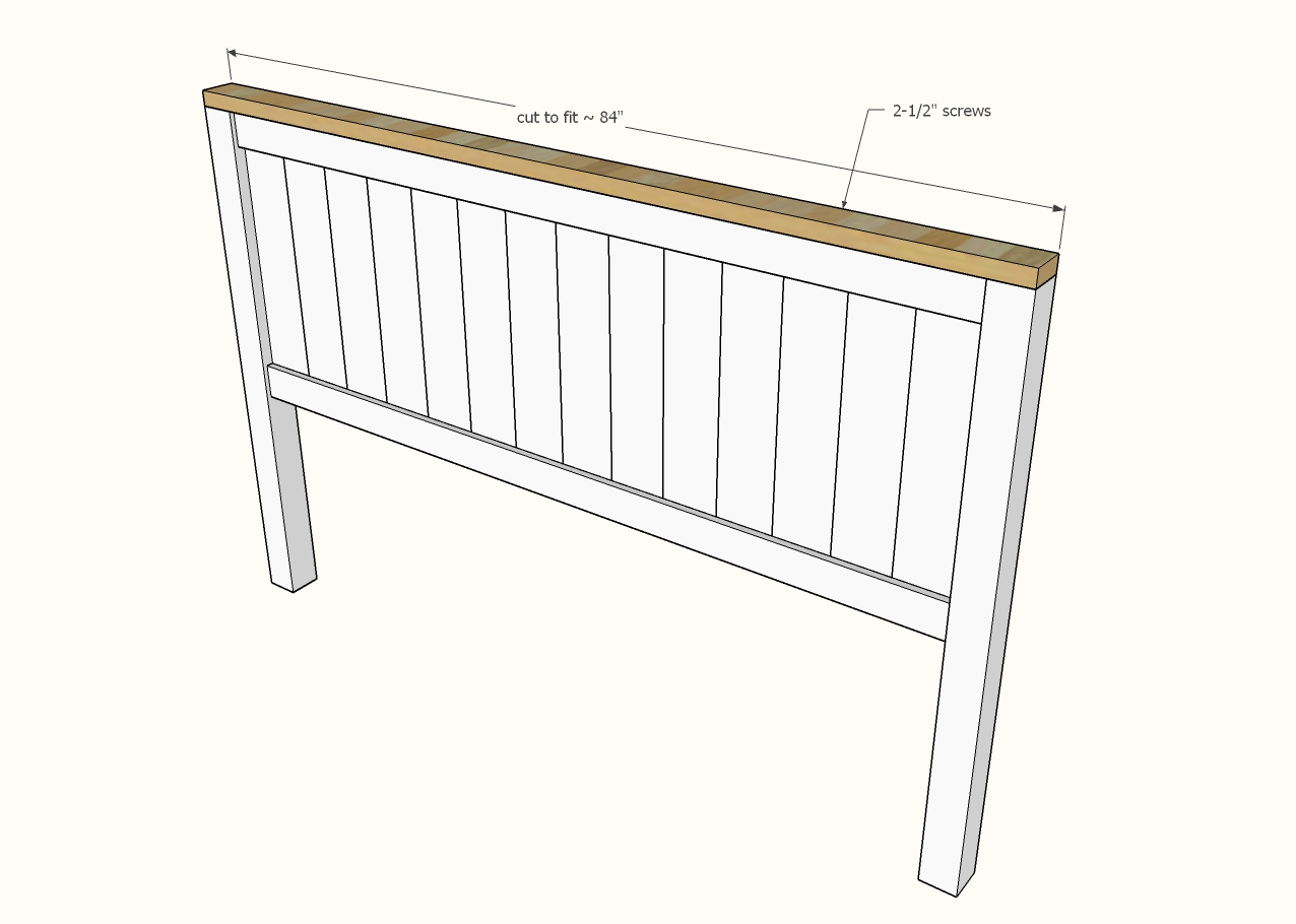 diagram showing 2x4 attaching to the headboard panel