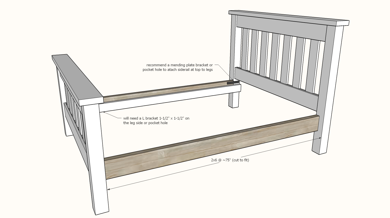 Simple Bed Full Size Bed Frame Ana White