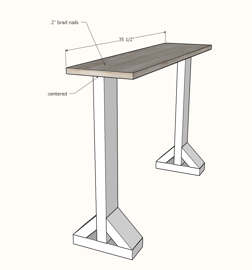 narrow console table step 2