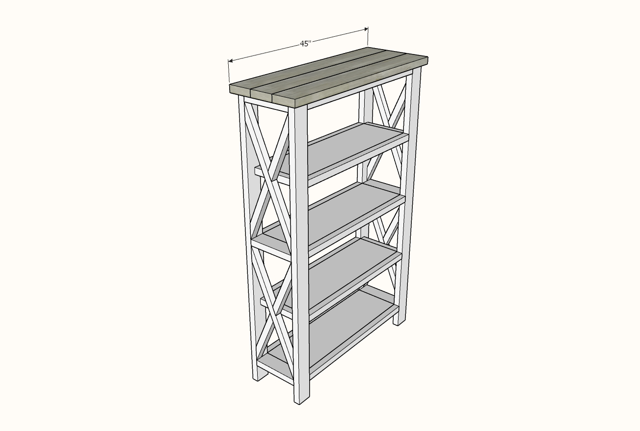 Rustic X Tall Bookshelf Ana White