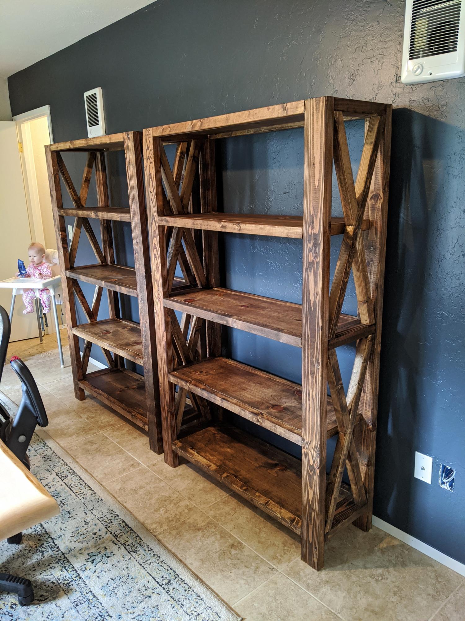 Tall Rustic X Bookshelves Ana White
