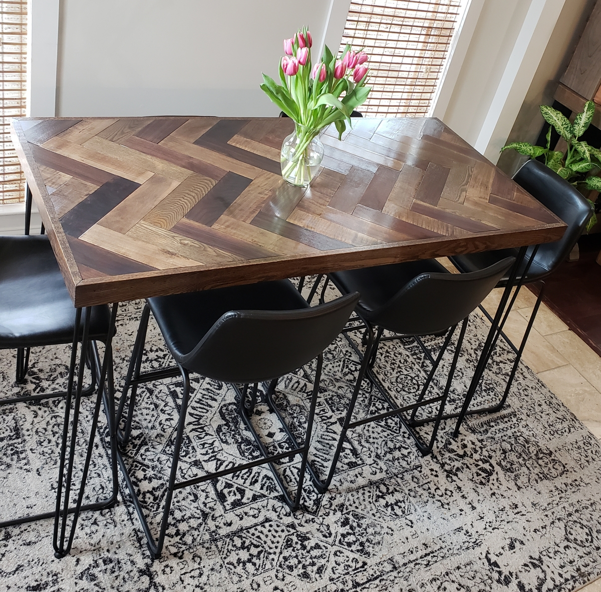 Ana White Herringbone Bar Height Dining Table With
