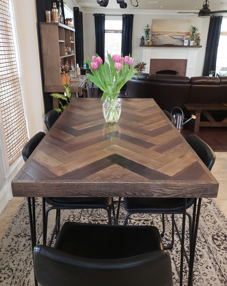 Herringbone Bar Height Dining Table with Hairpin Legs ...