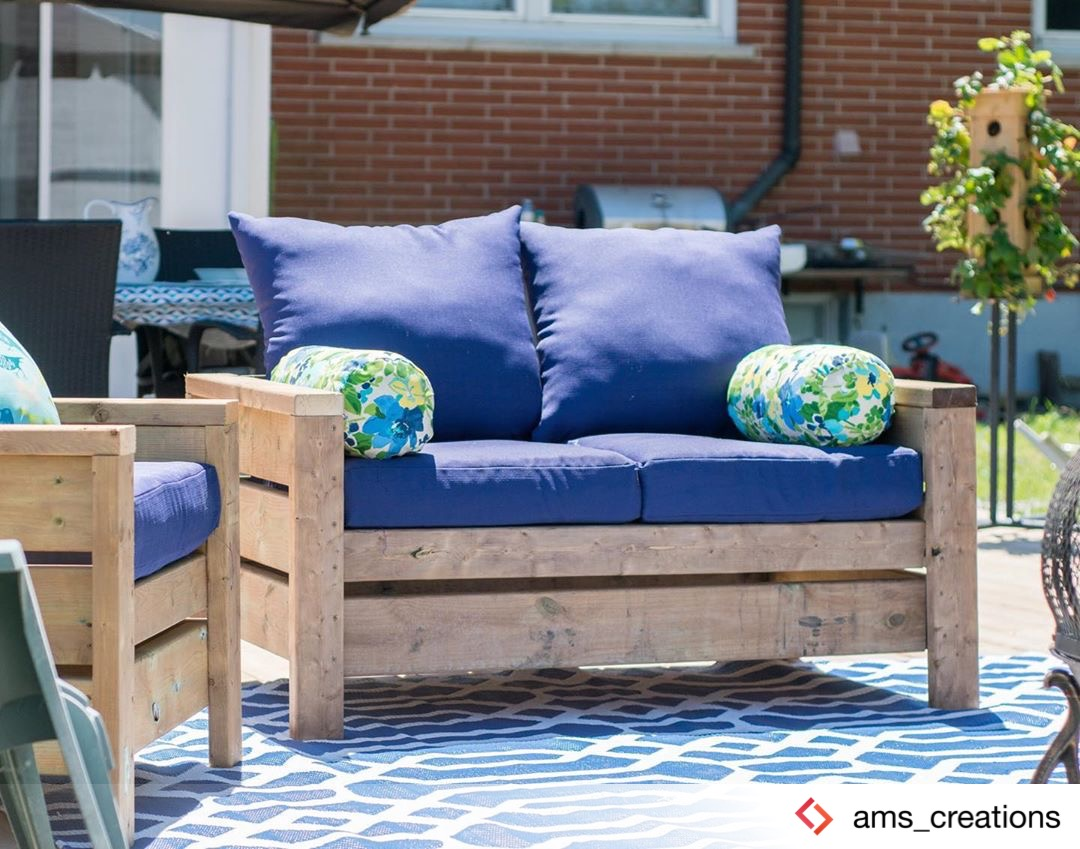 Modern Outdoor Loveseat from 2x4s and 2x6s | Ana White