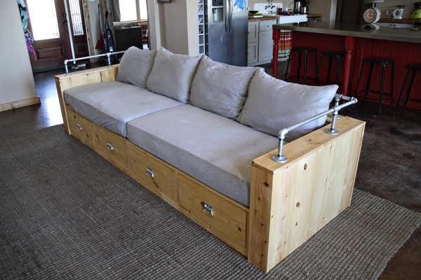 Beau Modern Wood Storage Sofa