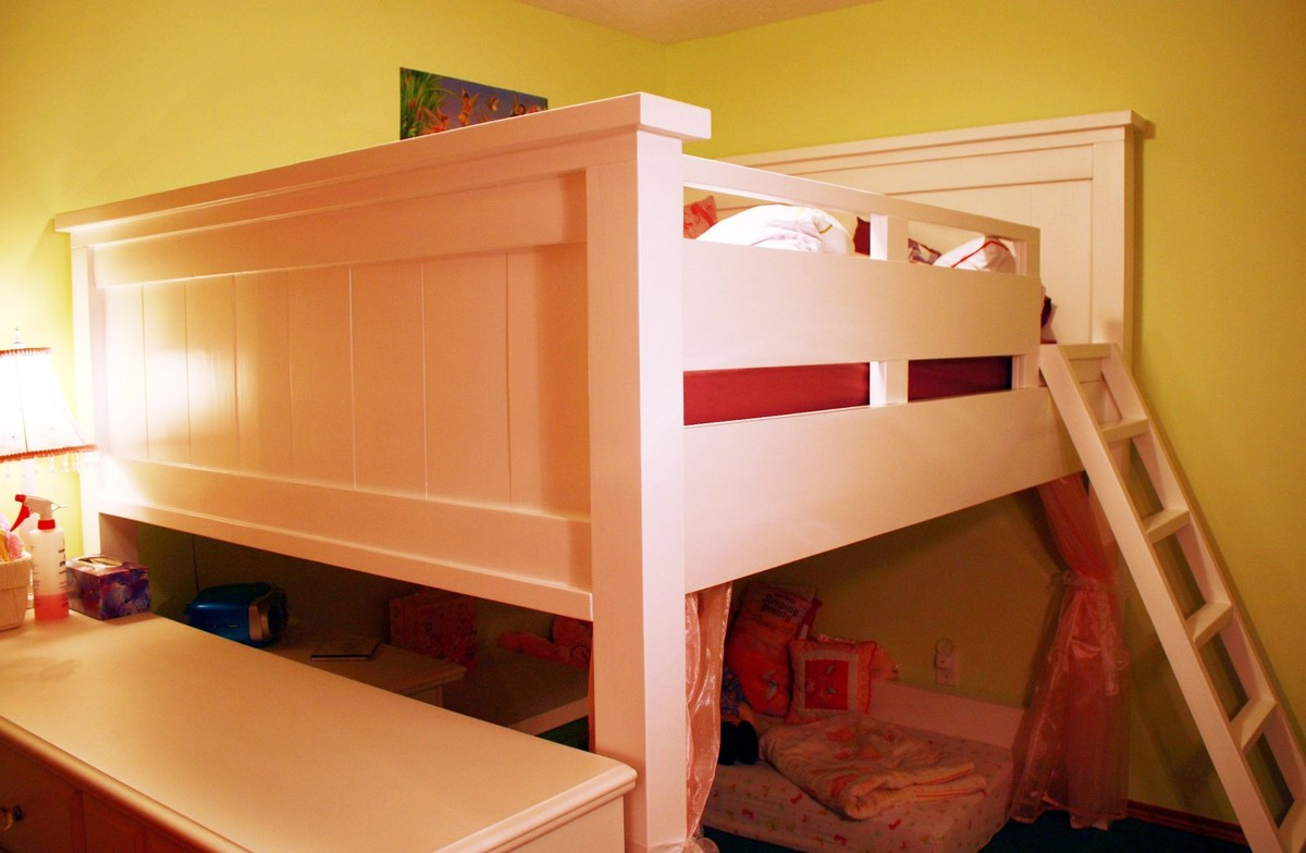 Ana White Farmhouse Loft Bed For Double Mattress Not Too Low Not Too Tall Diy Projects