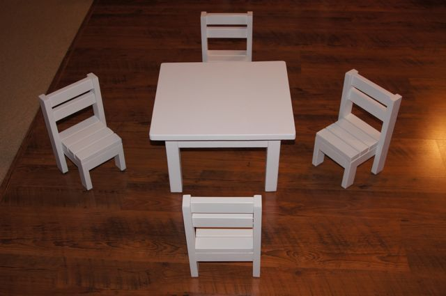 Claras Table And 4 Stackable Chairs Sized For 18 Dolls Ana White