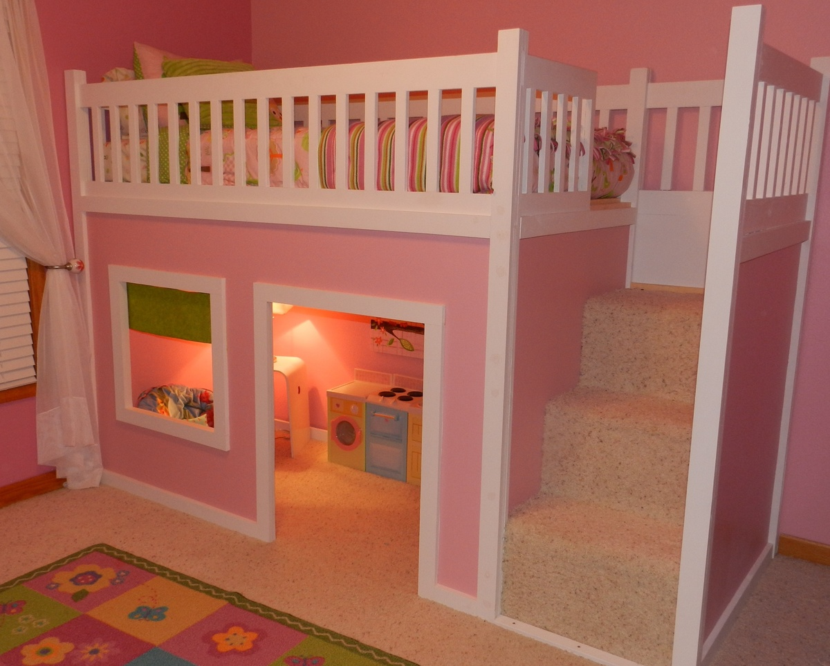 Picture of: Playhouse Loft Bed With Stairs Ana White