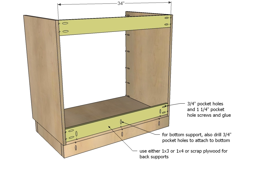 Kitchen Base Cabi  Plans on cabinet construction drawings