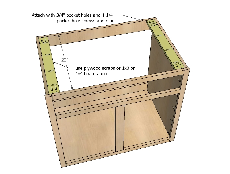 we attached with pocket hole screws through predrilled 34 pocket holes an alternative that i sometimes do depending on the project is to use finish - Sink Cabinet Kitchen