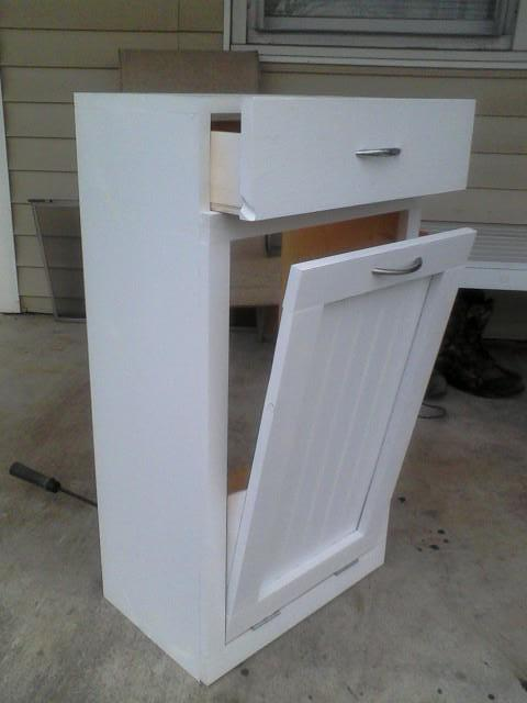 Ana white tilt out trash bin diy projects - Small pull out trash can ...