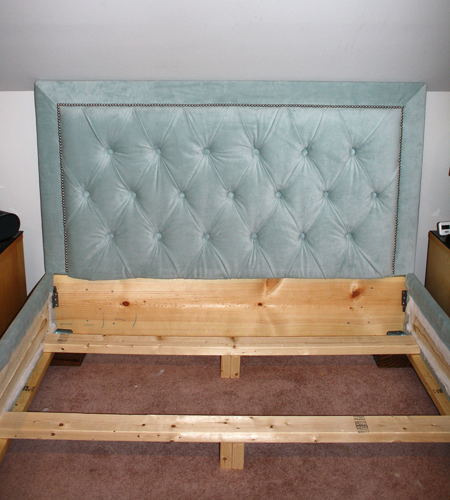ana white diamond tufted headboard with nailhead trim and matching bed frame diy projects. Black Bedroom Furniture Sets. Home Design Ideas