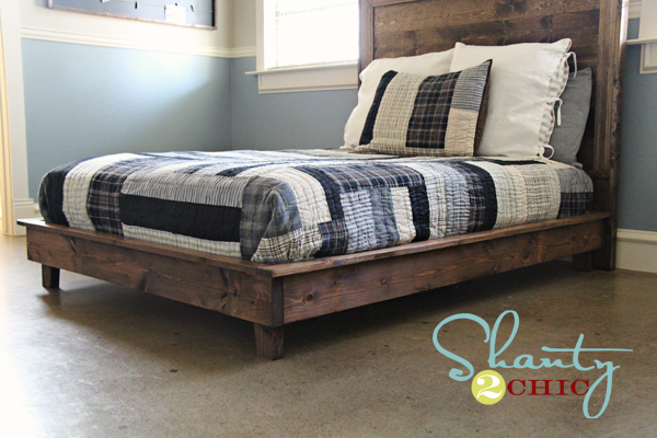 wood platform bed frame diy