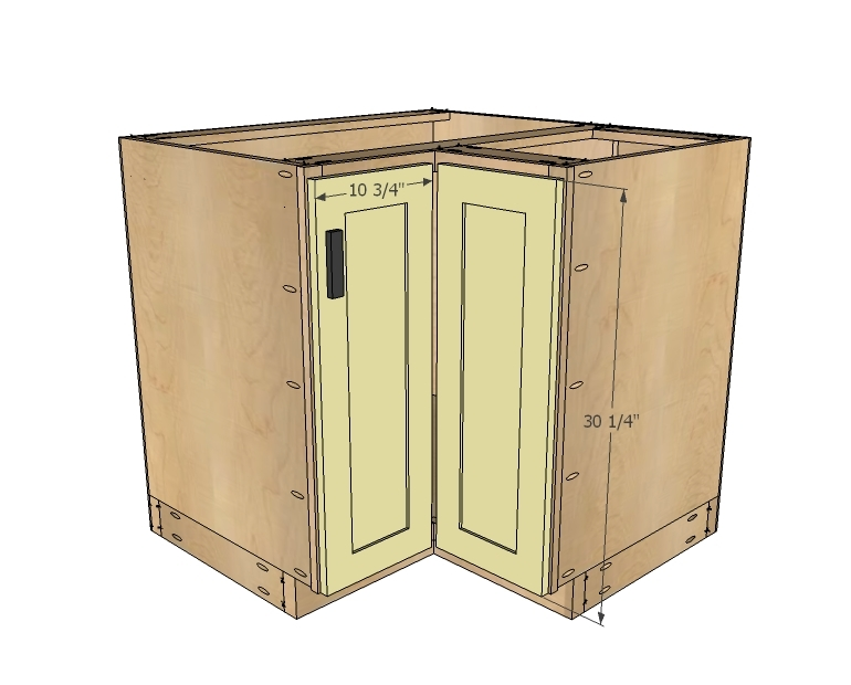 "Simple Kitchen Cabinet Plans ana white | 36"" corner base easy reach kitchen cabinet - basic"