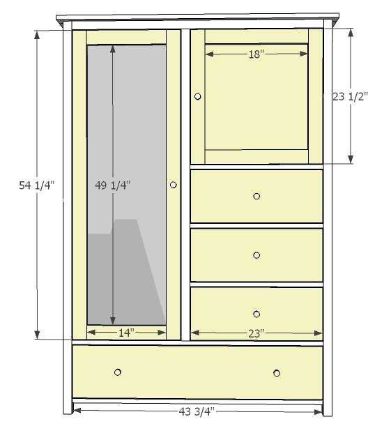 Ana white mirrored door wardrobe diy projects Wardrobe cabinet design woodworking plans