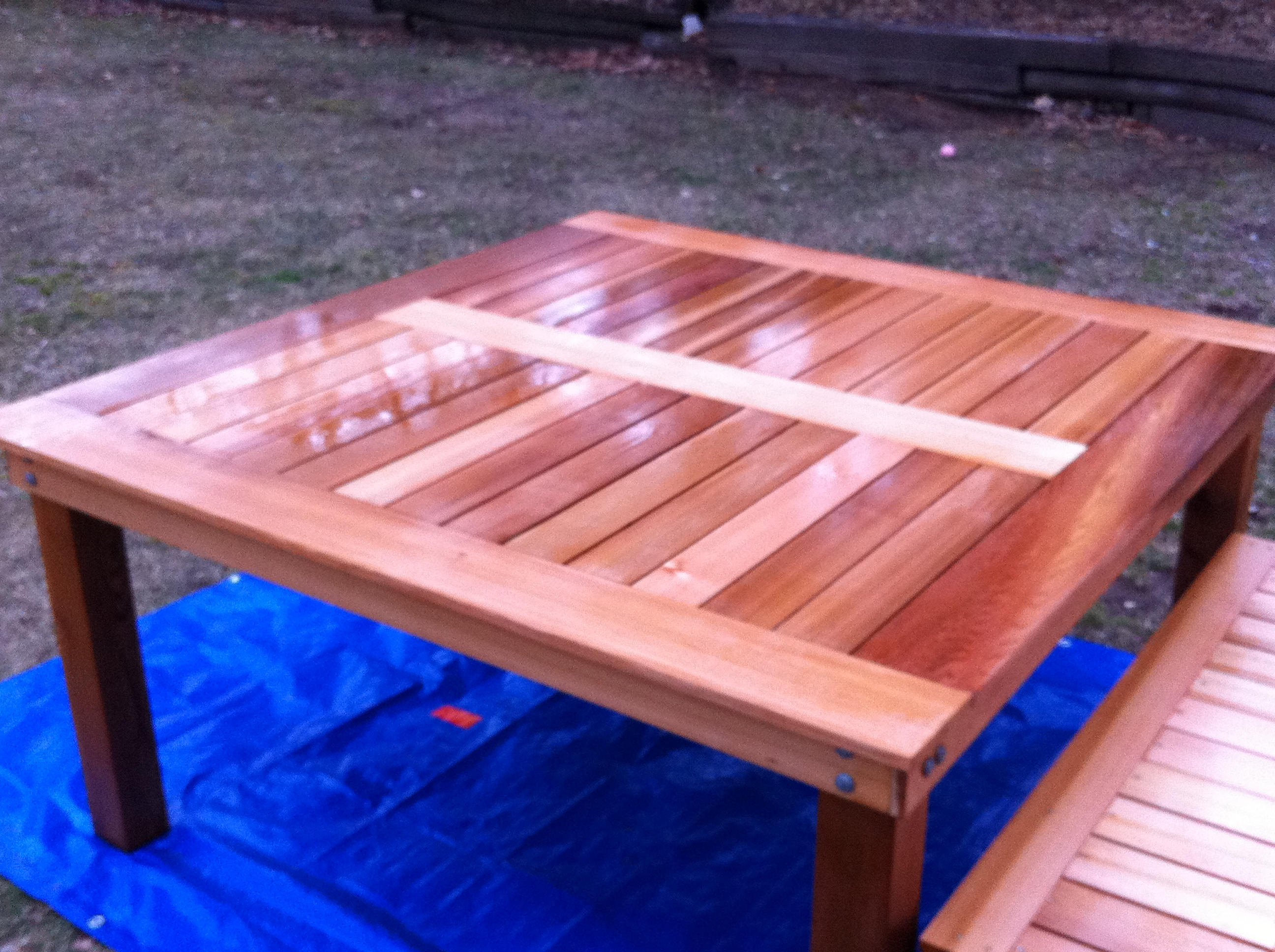 Charmant Simple Square Cedar Outdoor Dining Table