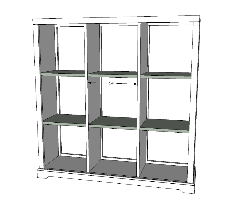Add optional moulding if desired . - Ana White Cubby Bookshelf - Large - DIY Projects