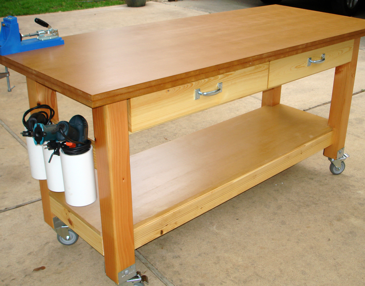 Rolling Workbench With Drill Holders