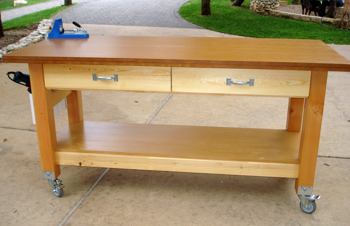 ana white rolling workbench with drill holders diy projects