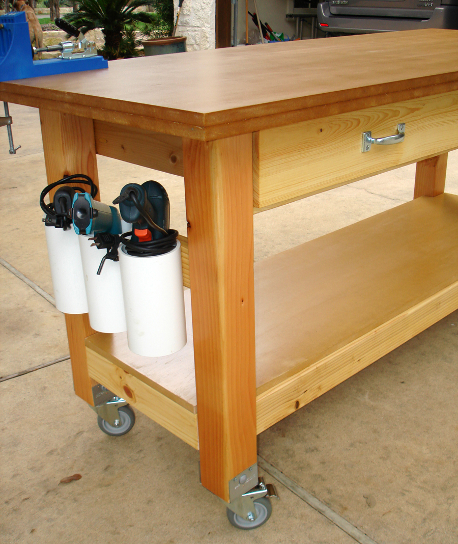 "Build Michaela S Kitchen Island Diy Projects: Rolling Workbench With ""Drill Holders"" - DIY"