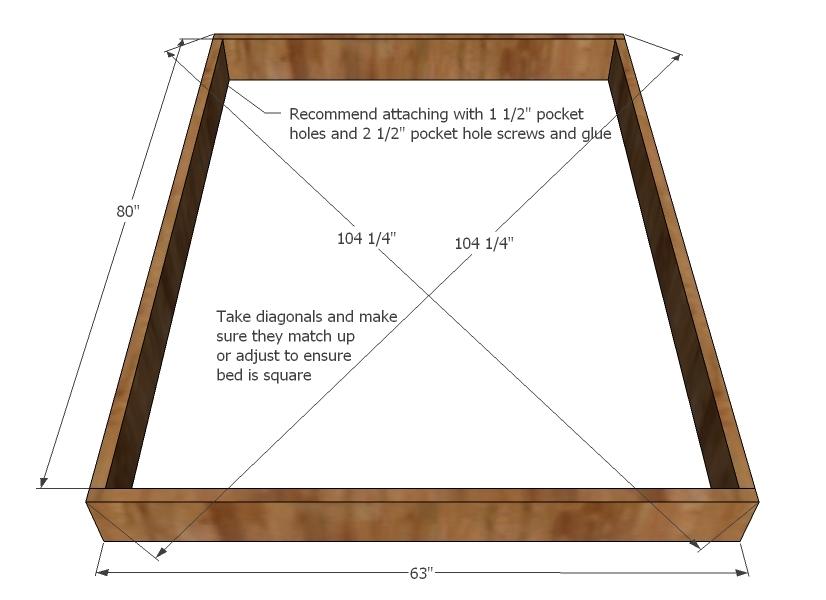 Chestwick Platform Bed Queen Size, Queen Size Platform Bed Dimensions