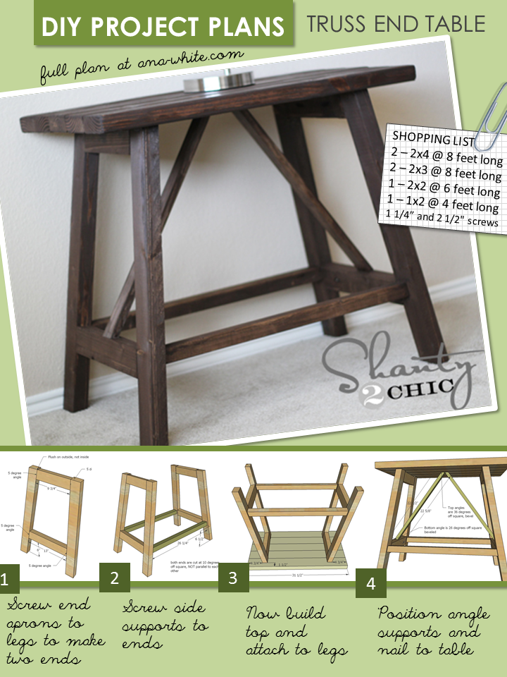 Ana white truss end table diy projects for Build end table
