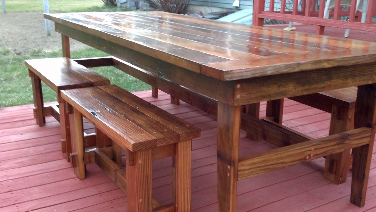 Farm Table With Bench And Chairs White Rustic Benches Diy Projects