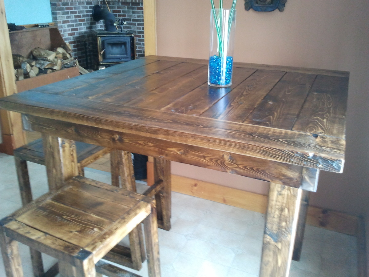 Ana white pub style table diy projects for Pub style kitchen table