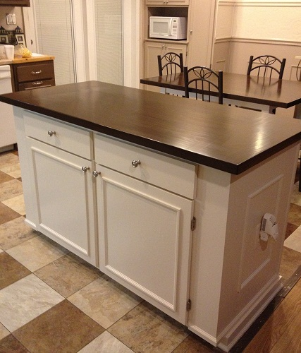 Ana white kitchen island with farmhouse table top diy projects - Ana white kitchen table ...