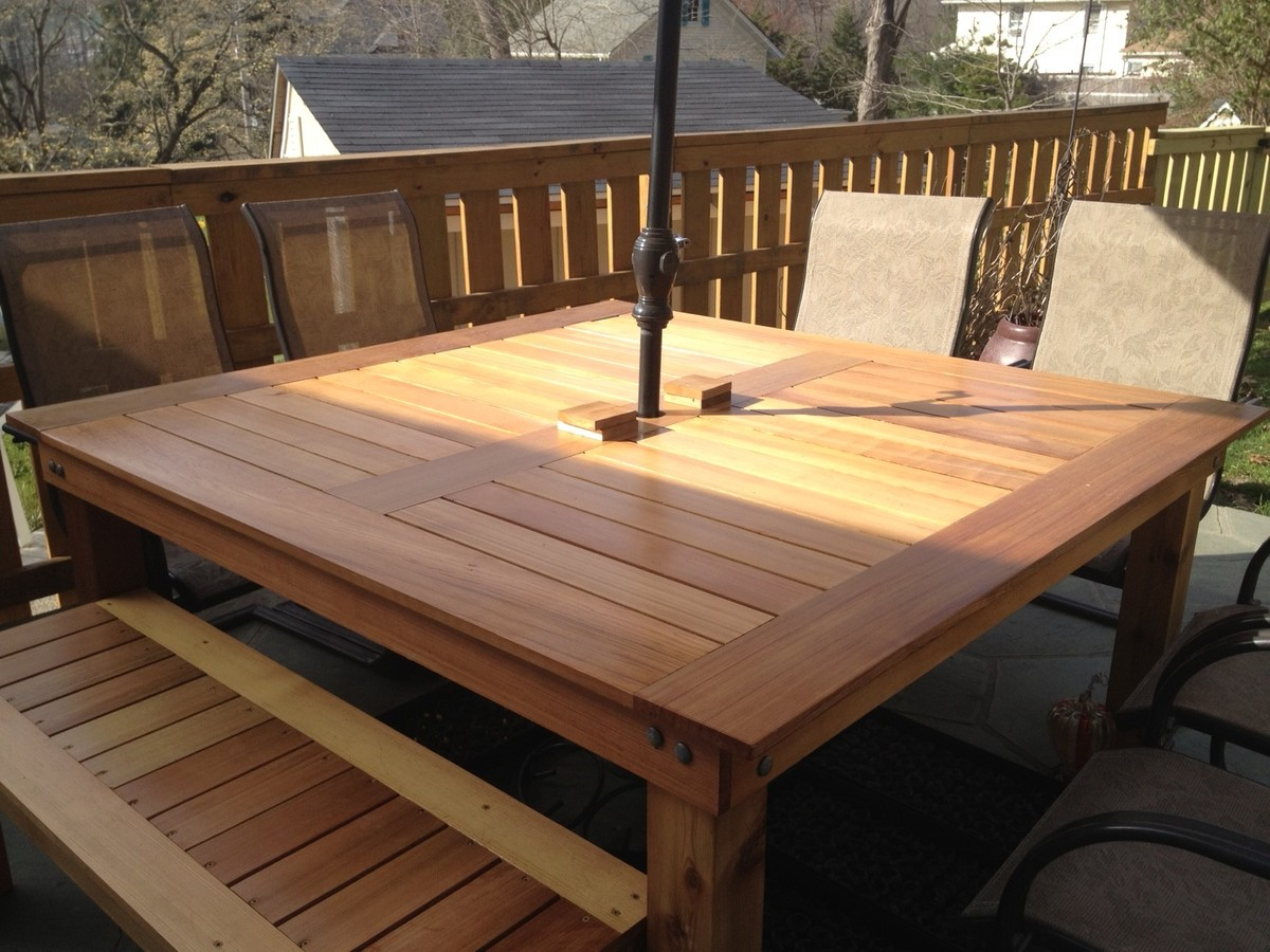 Ana white simple square cedar outdoor dining table diy for Breakfast table plans
