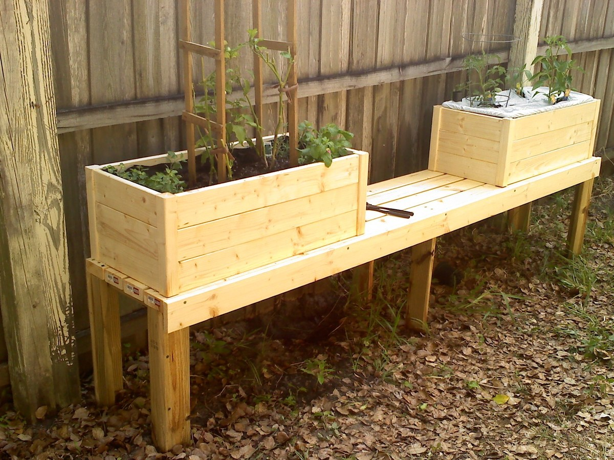 Beautiful Modified To Fit An Earthbox And Mounted To A Bench