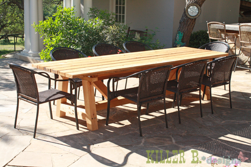Ana white 10 foot long provence table with 4x4 39 s diy for Table exterieur palette