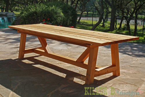 Ana white 10 foot long provence table with 4x4 39 s diy for Plan table de jardin en bois