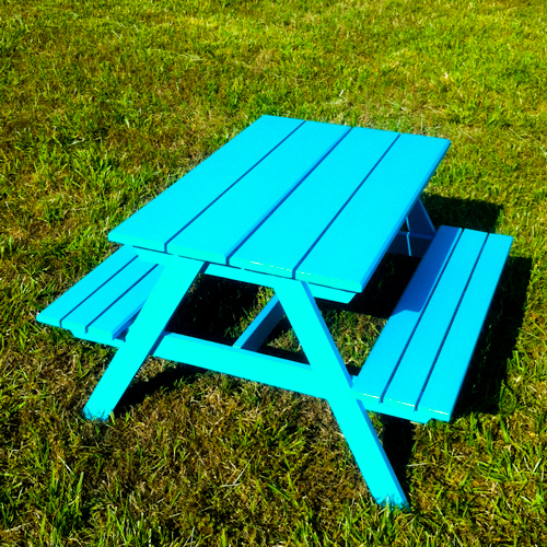 Ana White Preschool Picnic Table DIY Projects - Teal picnic table