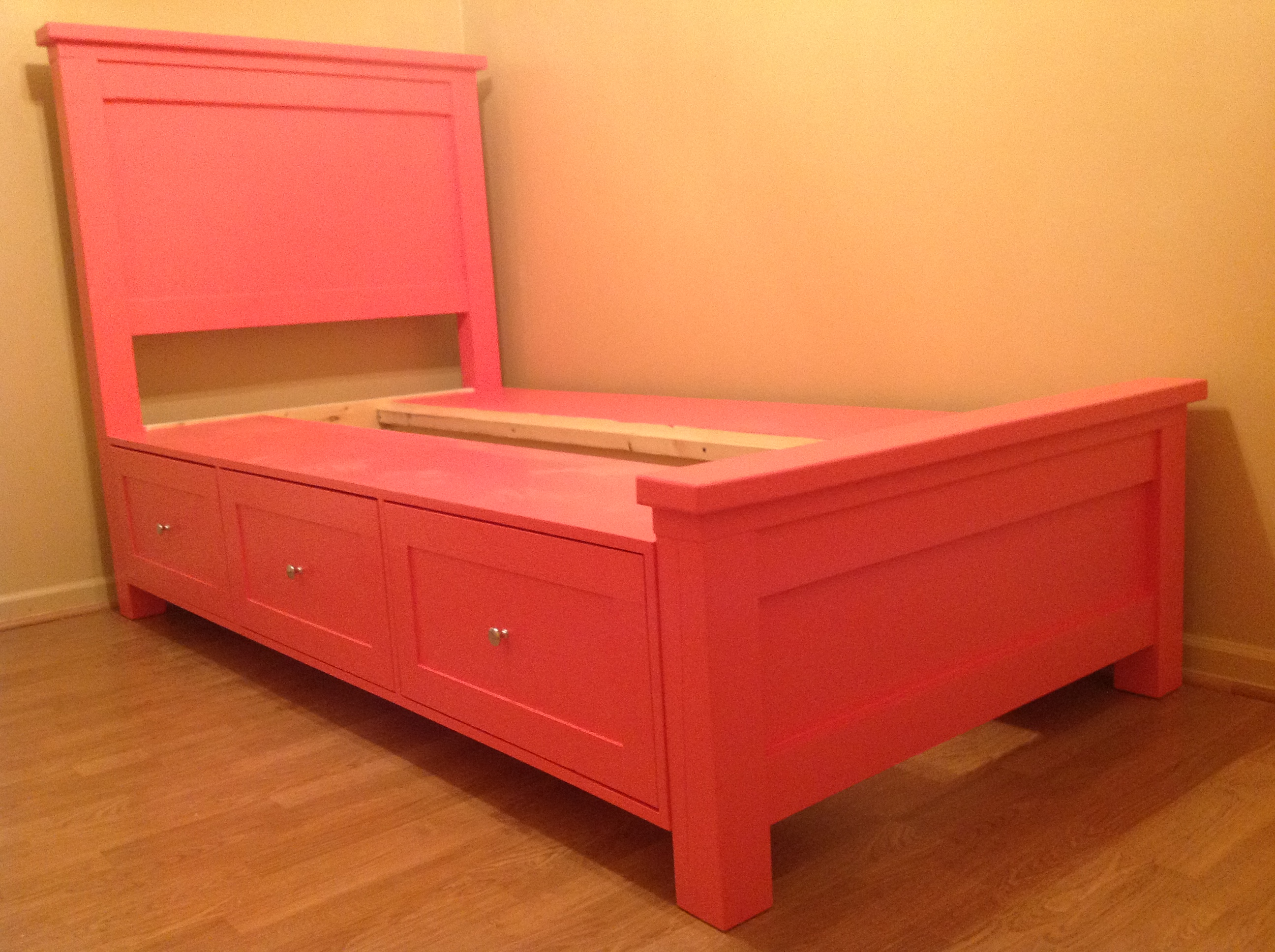 Ana White First Project Farmhouse Storage Bed Diy