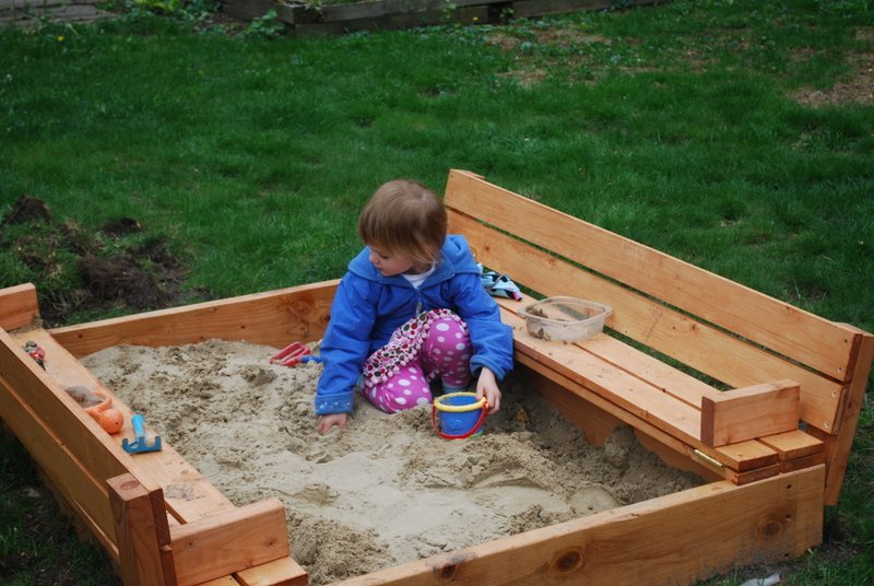 Ana white sandbox with benches diy projects for Sandbox with built in seats plans