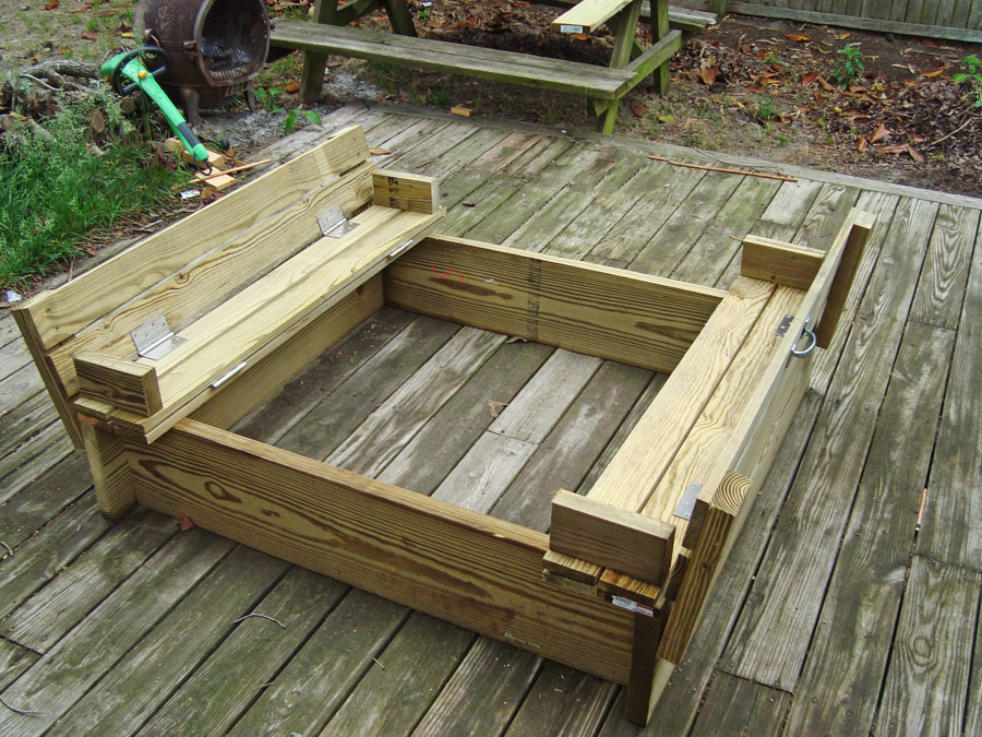 ana white sandbox with built in seats diy projects