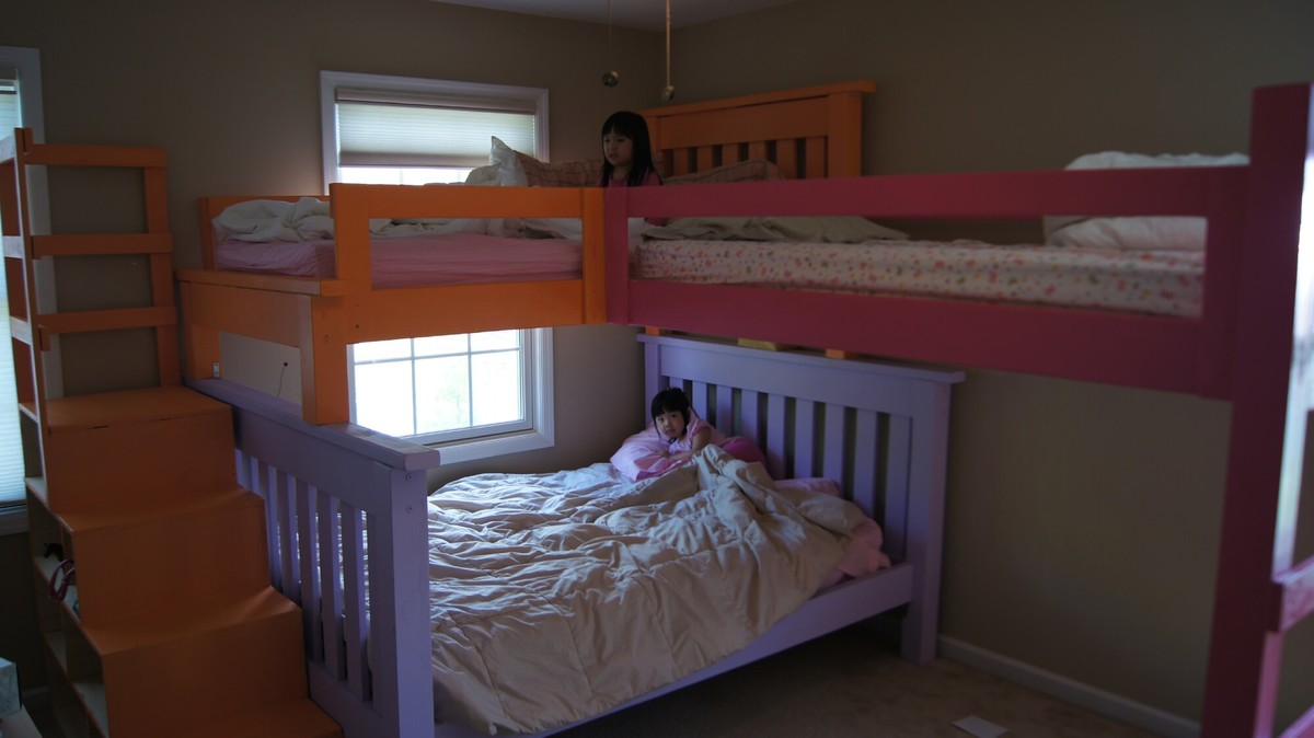 Ana White Simple Bunk Bed With A Triple Twist And Cubby Steps DIY Projects