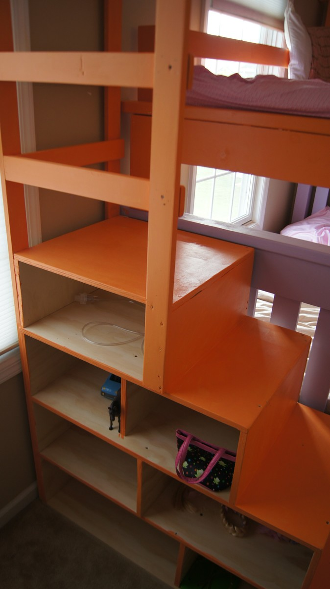 white simple bunk bed with a twist and cubby steps diy projects