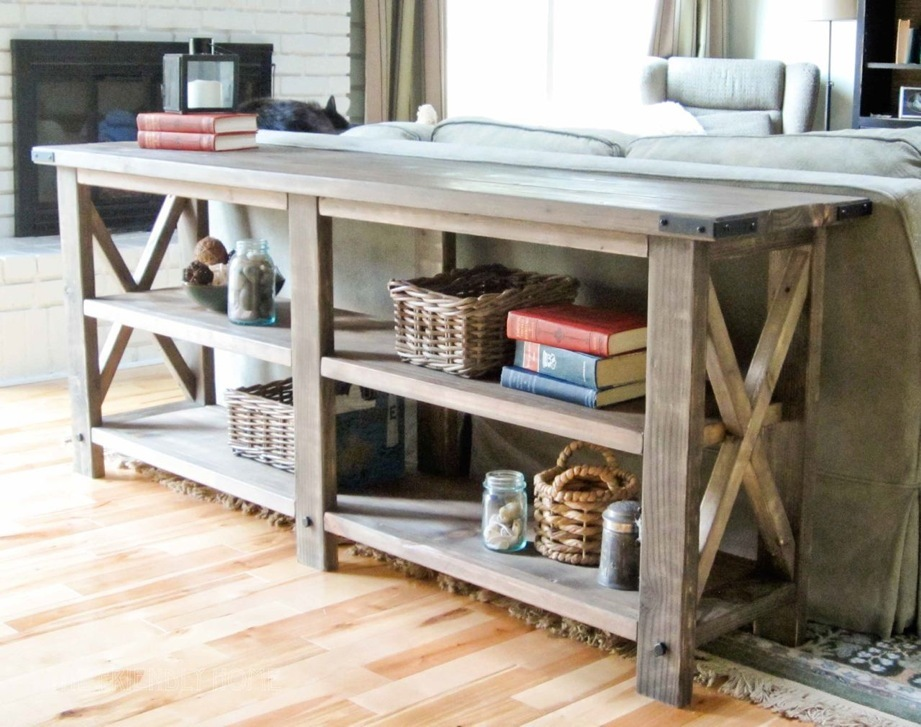 ana white rustic x console diy projects rh ana white com z console table Farmhouse Console Table