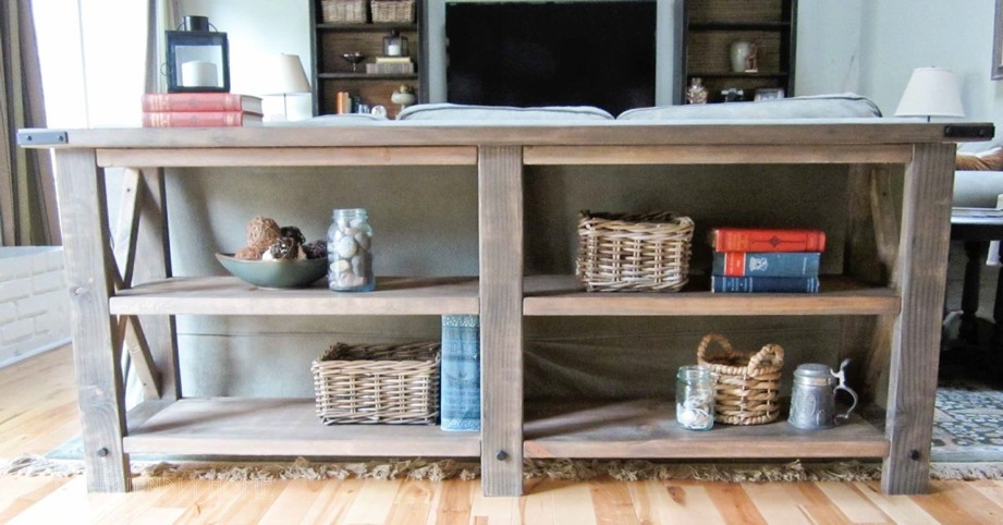 Ana white rustic x console diy projects rustic x console watchthetrailerfo