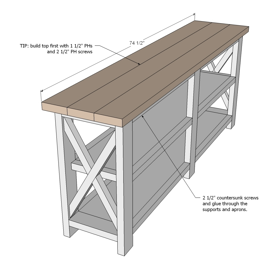 How to make a sofa table from 1 x 6 lumber - How To Make A Sofa Table From 1 X 6 Lumber 30