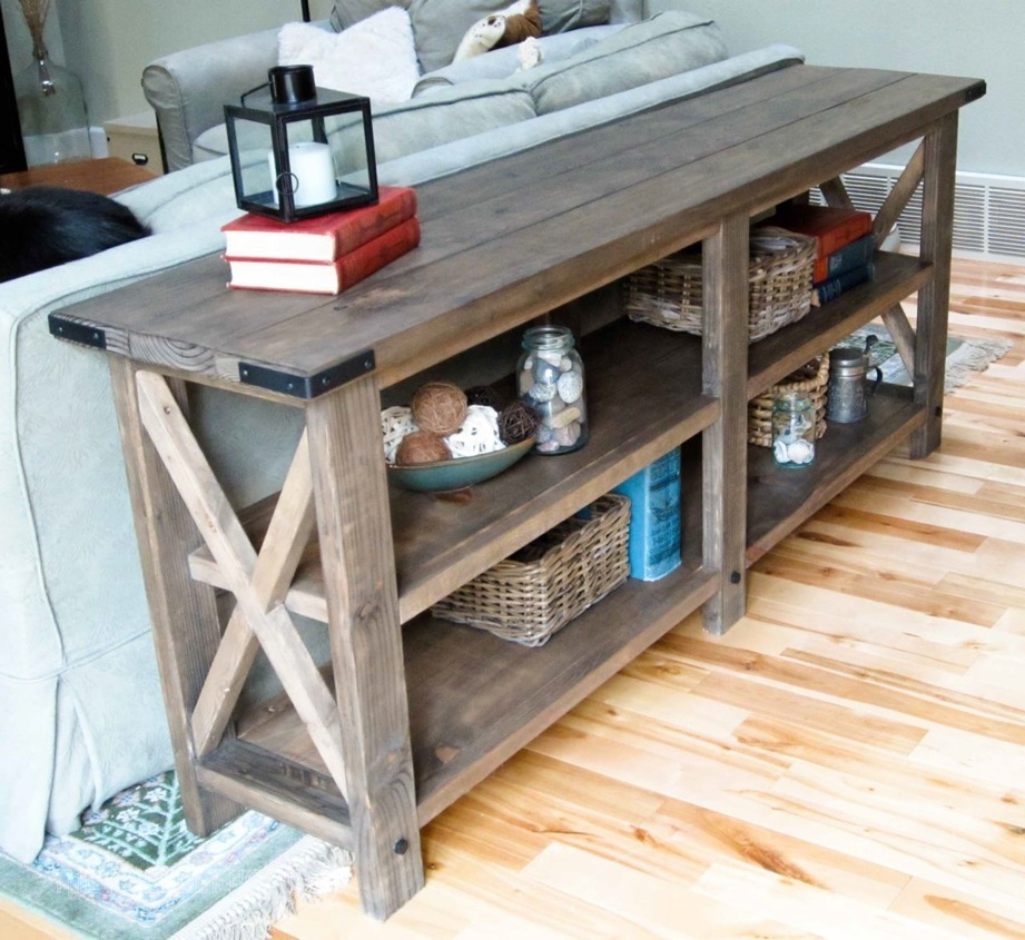 ana white rustic x console table