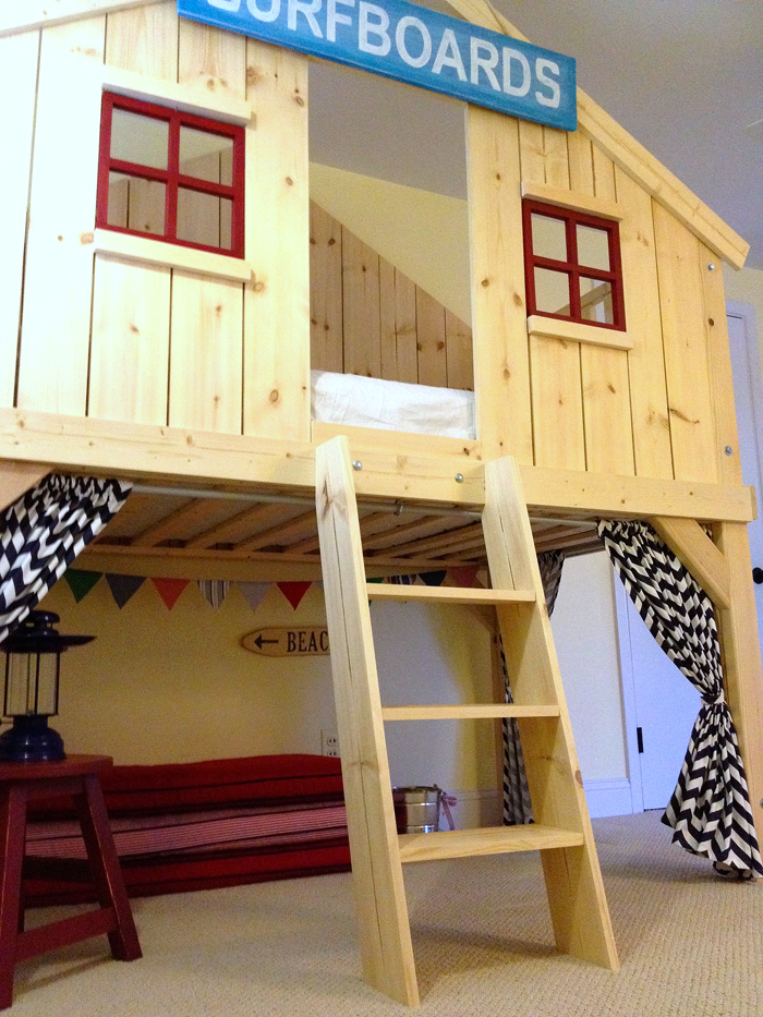 Ana white clubhouse bed diy projects for How to make a loft room