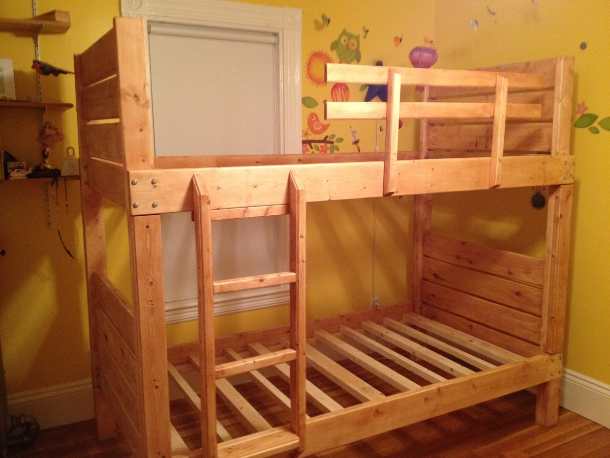 Ana white sturdy bunk beds diy projects for Simple bed diy