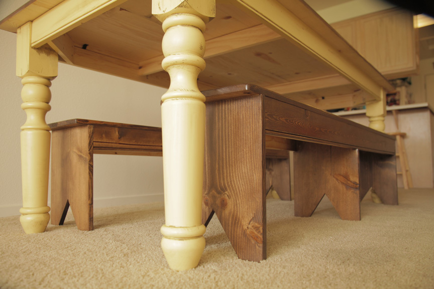 under table with farmhouse bench